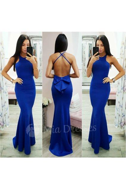 Modré spoločenské šaty s mašľou