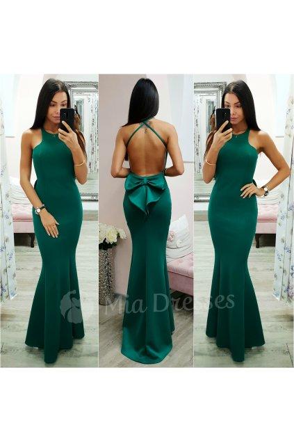 Smaragdové spoločenské šaty s mašľou