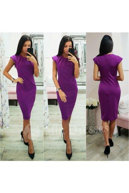Purpurové priliehavé midi šaty