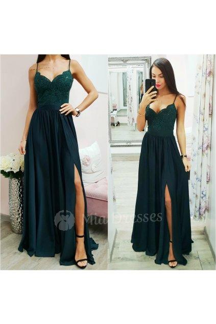 Smaragdové spoločenské šaty s flitrami a saténovou sukňou