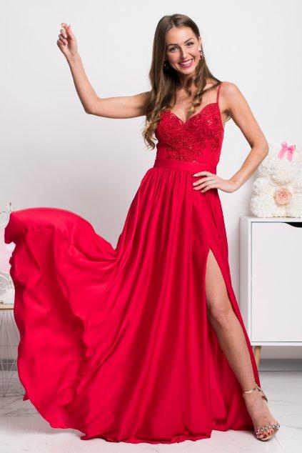 Červené spoločenské šaty s flitrami a saténovou sukňou
