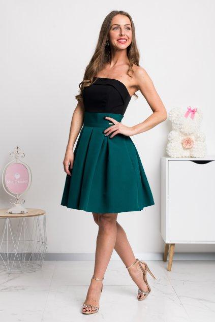 Smaragdová áčková mini sukňa