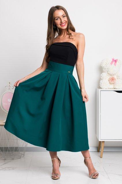 Smaragdová áčková midi sukňa