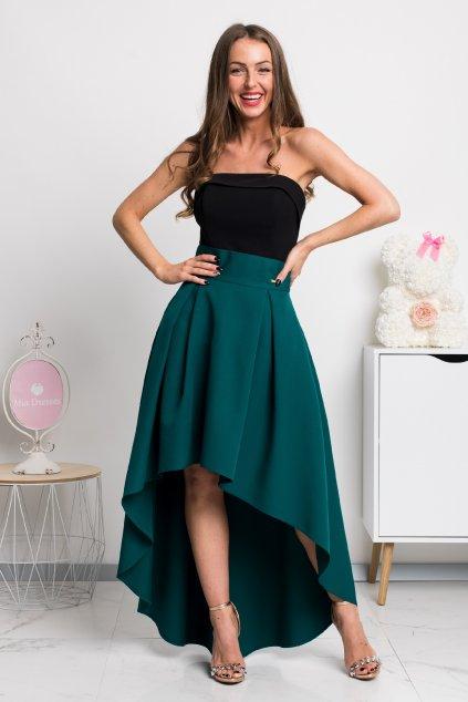 Smaragdová asymetrická sukňa
