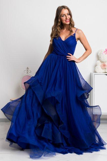 Modré spoločenské šaty s tylovou sukňou