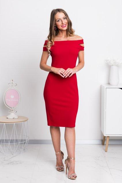 Červené midi šaty spustené na ramená