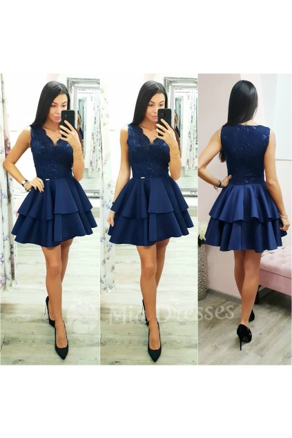 Tmavomodré spoločenské mini šaty s áčkovou sukňou
