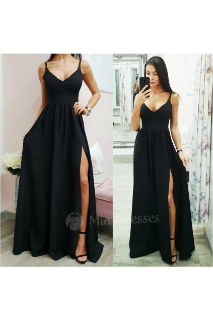 Čierne spoločenské šaty s rozparkami
