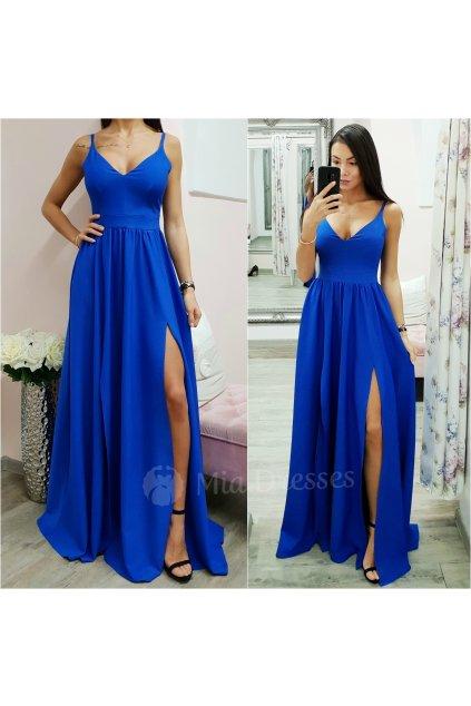 Modré spoločenské šaty s rozparkami