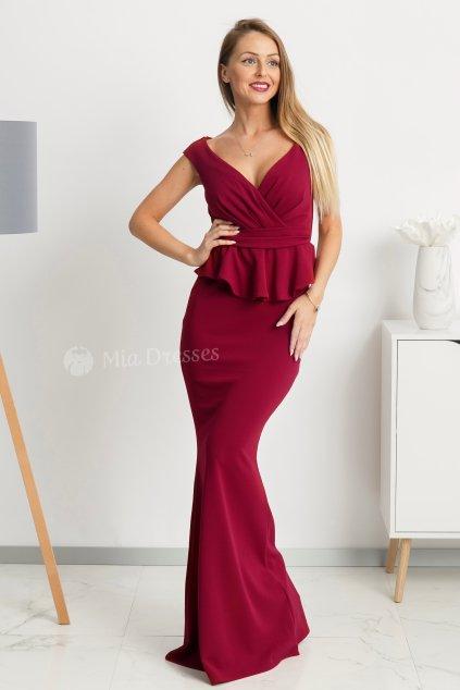 Bordové spoločenské šaty s peplum volánikom