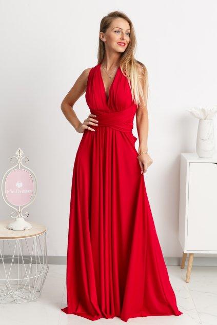 Červené spoločenské šaty s viazaním