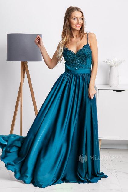 Petrolejové spoločenské šaty s flitrami a saténovou sukňou
