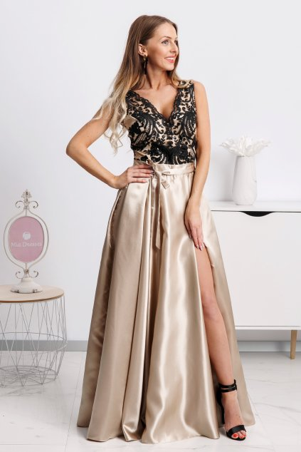 Zlaté spoločenské šaty s čiernou krajkou