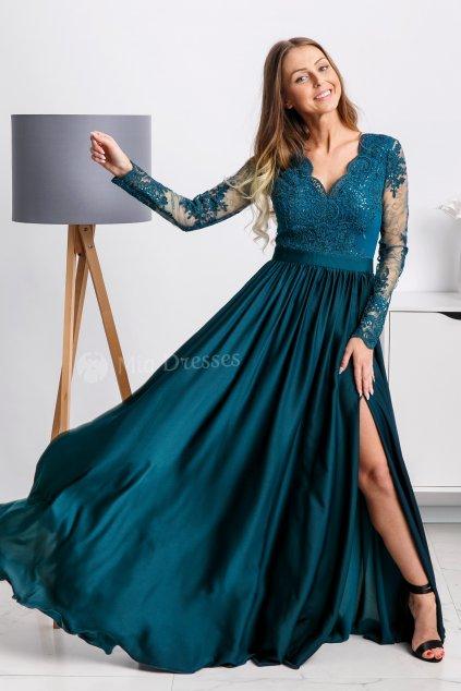 Modrozelené spoločenské šaty s krajkou a saténovou sukňou