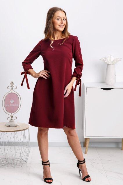 Bordové krátke áčkové šaty