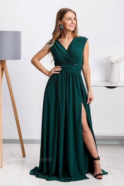 Smaragdové spoločenské šaty s rozparkom