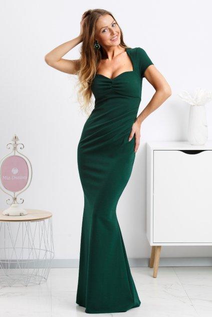 Smaragdové spoločenské šaty s vykrojeným výstrihom