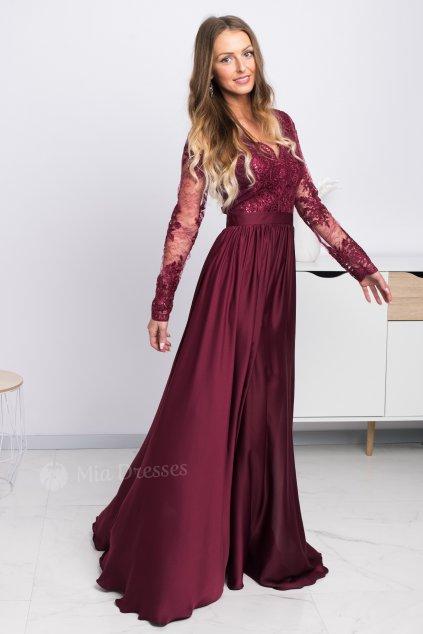 Bordovofialové spoločenské šaty s krajkou a saténovou sukňou