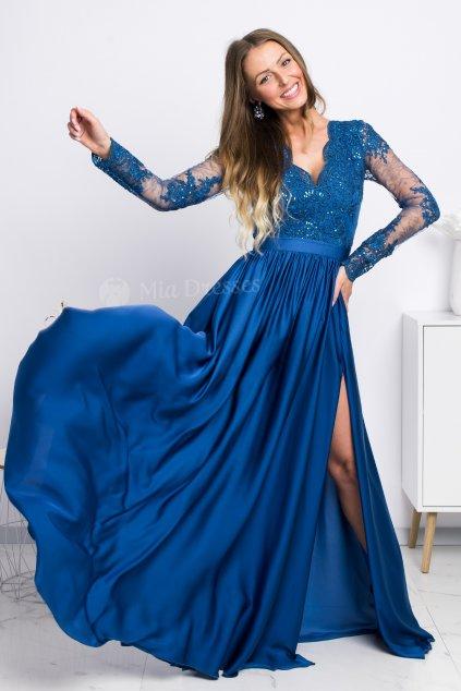 Petrolejové spoločenské šaty s krajkou a saténovou sukňou