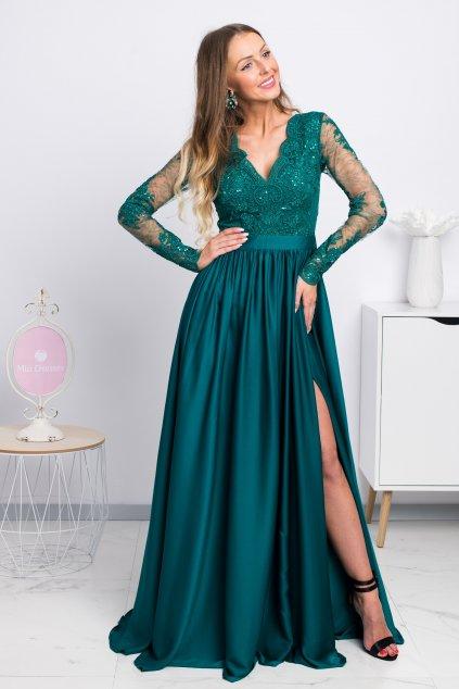 Zelené spoločenské šaty s krajkou a saténovou sukňou