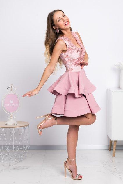 Ružové mini šaty s áčkovou sukňou