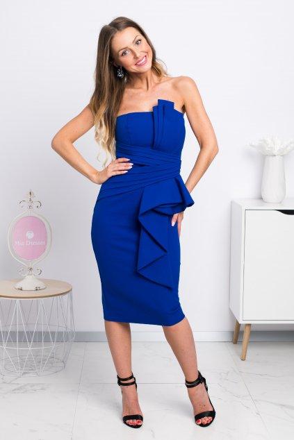 Modré priliehavé midi šaty