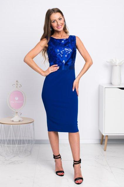 Modré midi šaty s flitrami