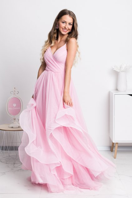 Ružové spoločenské šaty s tylovou sukňou