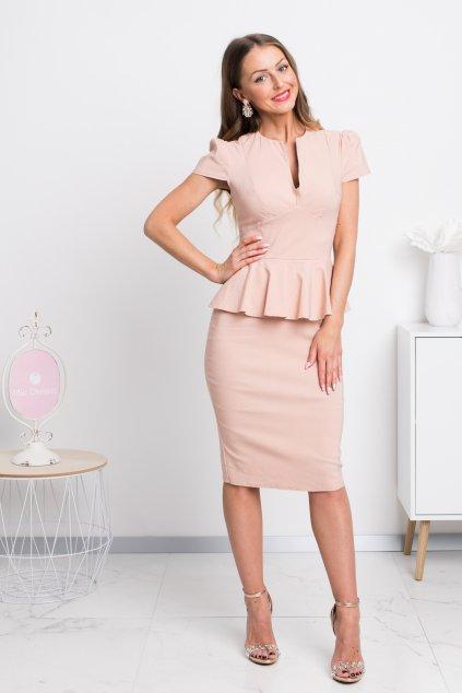 Telové midi šaty s peplum volánikom