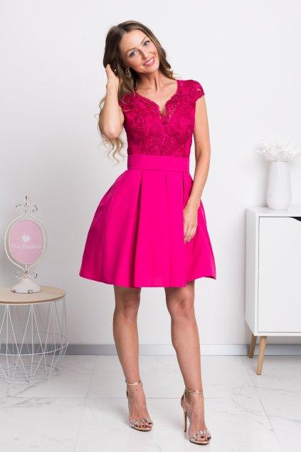 Cyklaménové spoločenské mini šaty s áčkovou sukňou