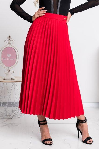 Červená plisovaná midi sukňa