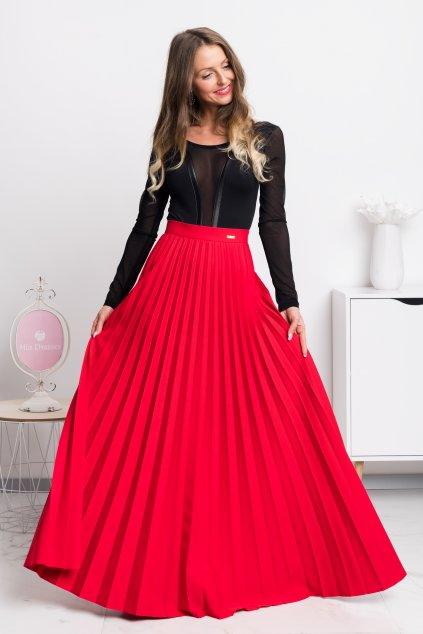 Červená plisovaná dlhá sukňa