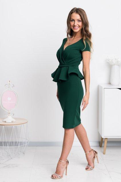 Zelené midi šaty s peplum volánikom