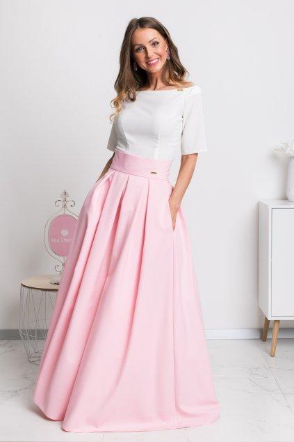 Svetloružová dlhá sukňa