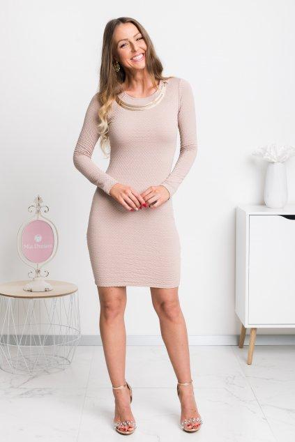 Svetlohnedé mini šaty s kovovou aplikáciou