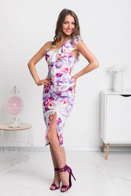 Ružovo-fialové kvetinové midi šaty s volánikmi