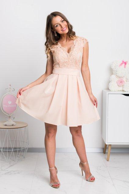 Marhuľové spoločenské mini šaty s áčkovou sukňou