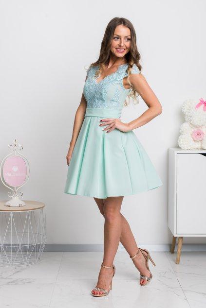 Mentolové spoločenské mini šaty s áčkovou sukňou