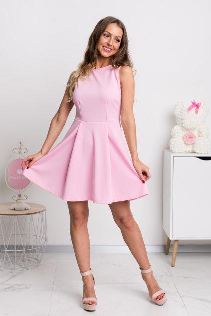 Svetloružové áčkové mini šaty