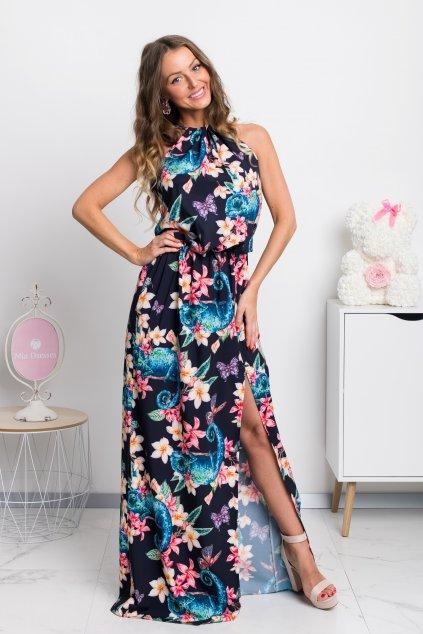 Tmavomodré kvetinové šaty s rozparkom