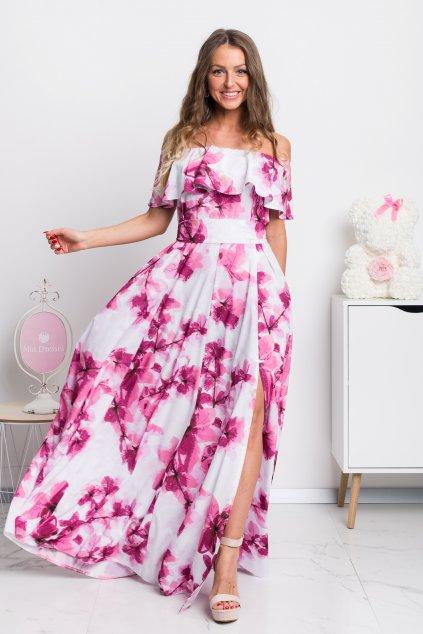 Bielo-ružové kvetinové šaty spustené na ramená