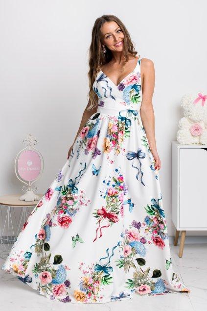 Smotanové kvetinové šaty s odhaleným chrbtom