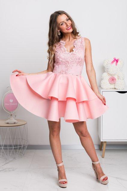 Svetloružové spoločenské mini šaty s áčkovou sukňou