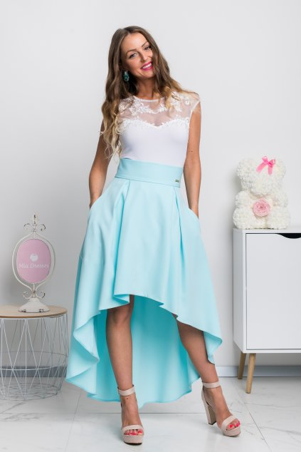 Svetlomodrá asymetrická sukňa
