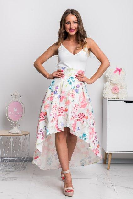 Kvetinová asymetrická sukňa