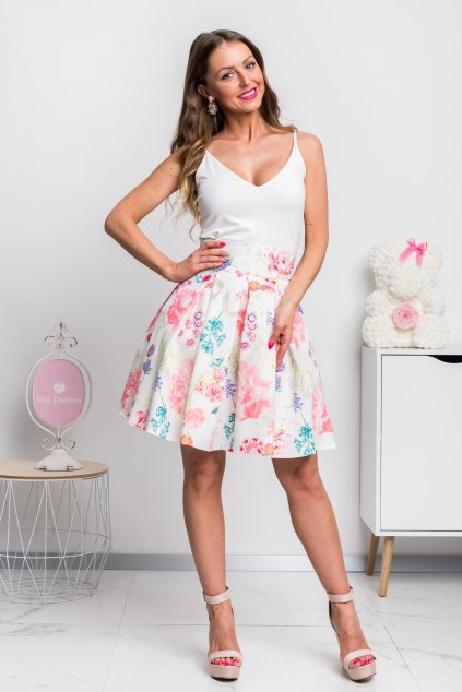 Kvetinová áčková mini sukňa