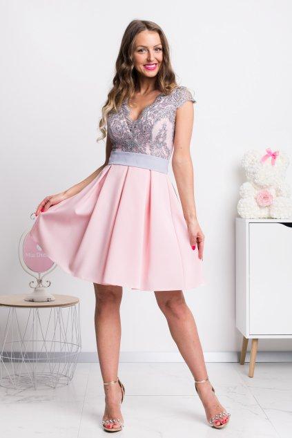 Ružovo-sivé spoločenské mini šaty s áčkovou sukňou