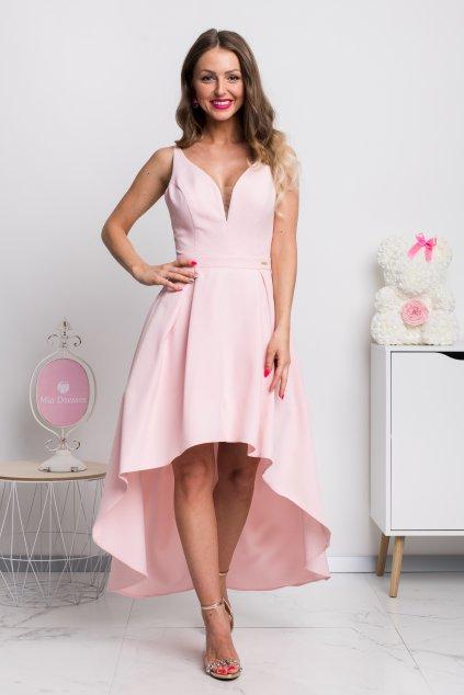 Svetloružové asymetrické šaty