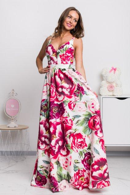 Farebné kvetinové šaty s odhaleným chrbtom