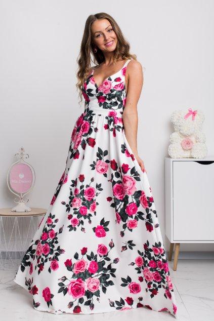 Kvetinové šaty s odhaleným chrbtom ROSE
